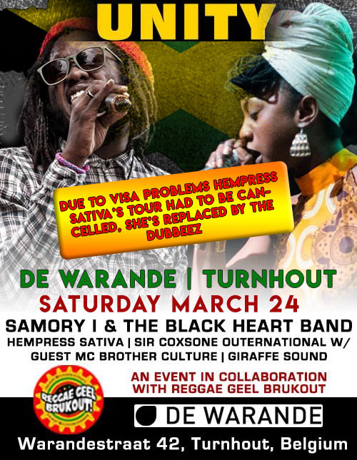 Samory-I and The Black Heart Band + The Dubbeez / Sir Coxsone Outernational on Giraffe Sound System