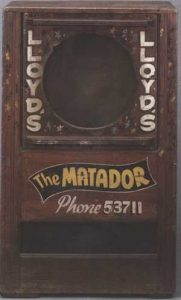"Early Matador 18"" Speaker Box with lettering created by ""Fergie"" Ferguson. (Photo Courtesy of EMP)"