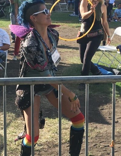 A patron gets loose at the L.A. Reggae Vegan Fest