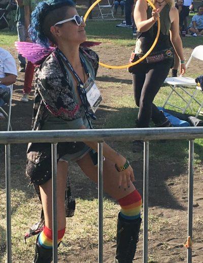 A patron gets loose at the L.A. Reggae Vegan Fest