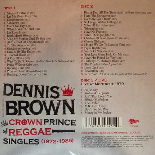 Backsleeve Dennis Brown - The Crown Prince Of Reggae - Singles (1972-1985)