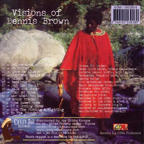 Backsleeve Dennis Brown - Visions Of Dennis Brown