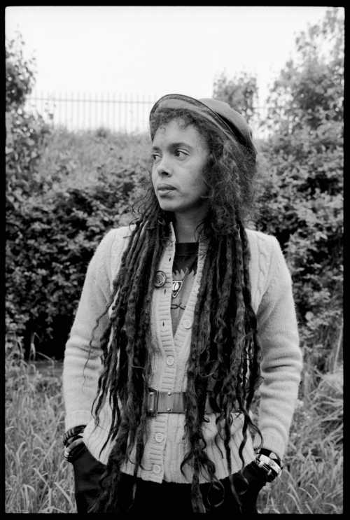 Faybiene  Miranda in a back garden in East London 11 May 1988 (Photo: David Corio)