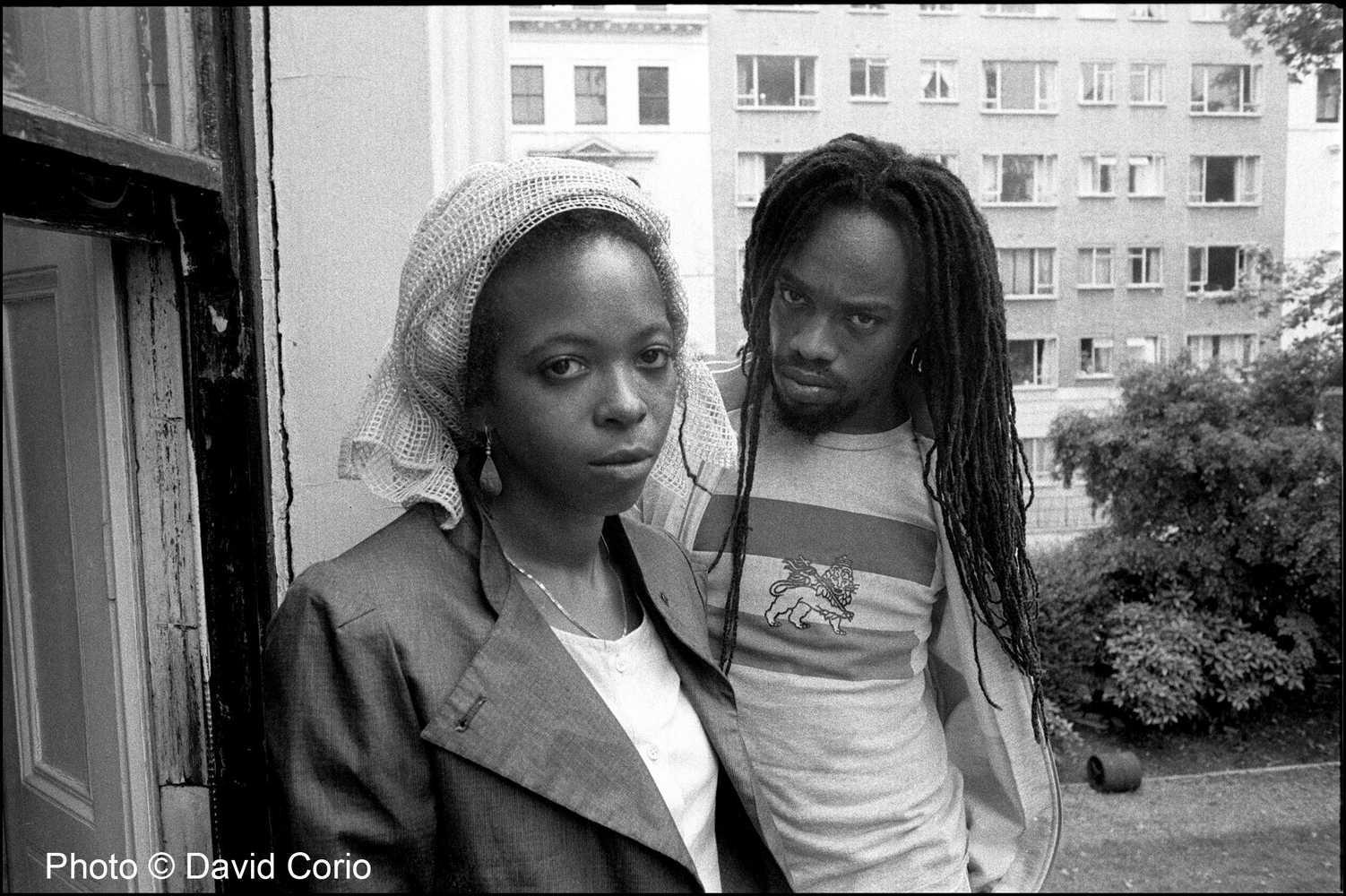 Puma Jones and Michael Rose of Black Uhuru in Kensington, London UK July 9 1984 by David Corio