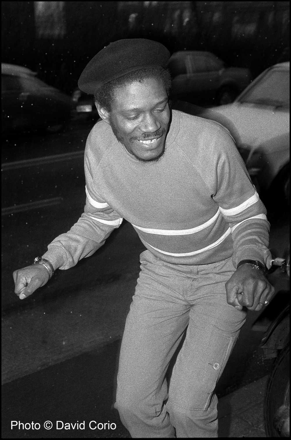 Horace Andy skanking in the snow outside Rough Trade Records, Kings Cross, London, UK 15 March 1985 by David Corio