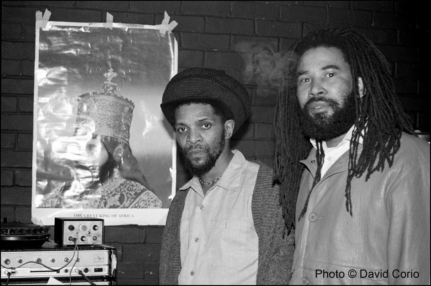 Jah Shaka & Norman Grant of The Twinkle Brothers at Albany Empire, Deptford, London, UK February 7 1988 by David Corio