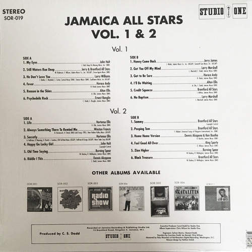 Backsleeve Jamaica All Stars