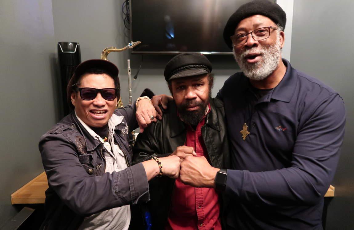 Soul Syndicate legends Tony Chin, Fully Fullwood & Santa Davis, backstage at the Dub Club LA (photo: Stephen Cooper)