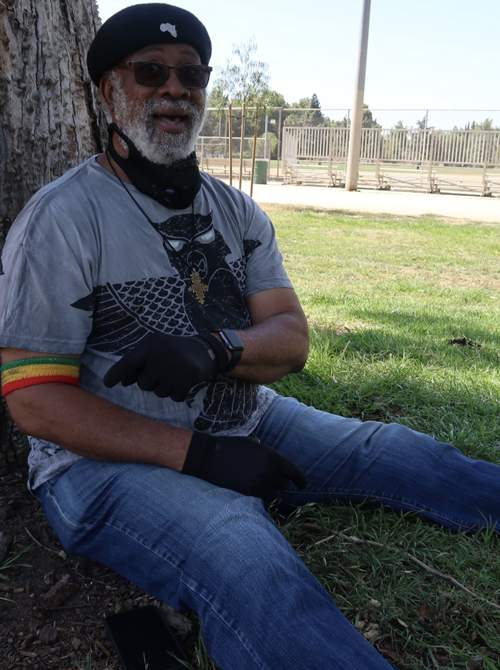 Carlton 'Santa' Davis sitting in the park - L.A. 2020 (Photo: Stephen Cooper)
