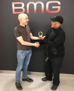 "Anthony ""Chips"" Richards receiving the 2018 Q Award in London (Photographer unknown)"