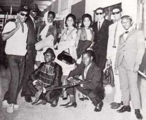at Kingston Airport: Prince Buster far left, Jimmy Cliff seated to the left, Monty Morris far right