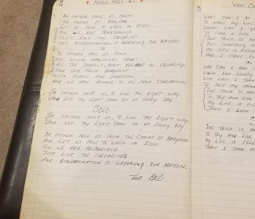 """Carl Malcolm's original lyrics for """"Father Free Us,"""" his first professional recording for Clement """"Coxsone"""" Dodd (photo courtesy of Carl Malcolm)"""
